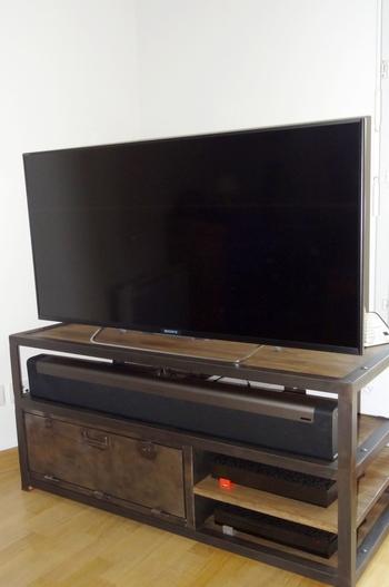 Mobilier Industriel Meuble TV acier et bois O'Range Metalic 3