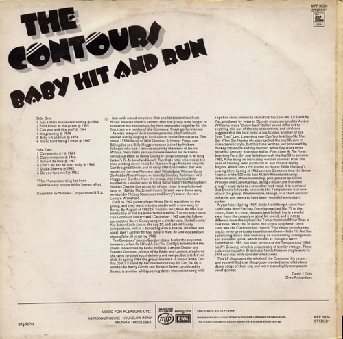 "The Contours : Album "" Baby Hit And Run "" Music For Pleasure Records MFP 50054 [ UK ]"
