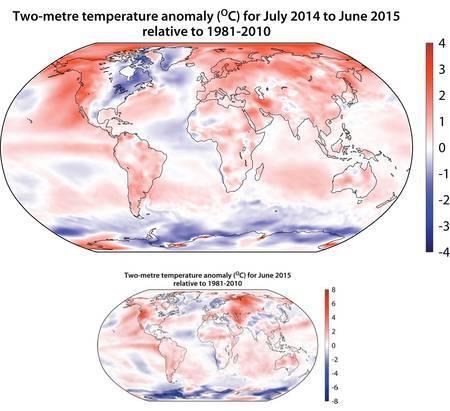Cartes des anomalies de températures pour la période allant de juillet 2014 à juin 2015 par rapport à la période 1981-2010. © C3S/Copernicus data