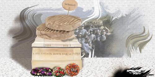 dessin de JERC et AKAKU du jeudi 08 novembre 2018 caricature Monuments aux morts de la guerre 14 - 18 Apres une guerre on se rabi-boche www.facebook.com/jercdessin @dessingraffjerc