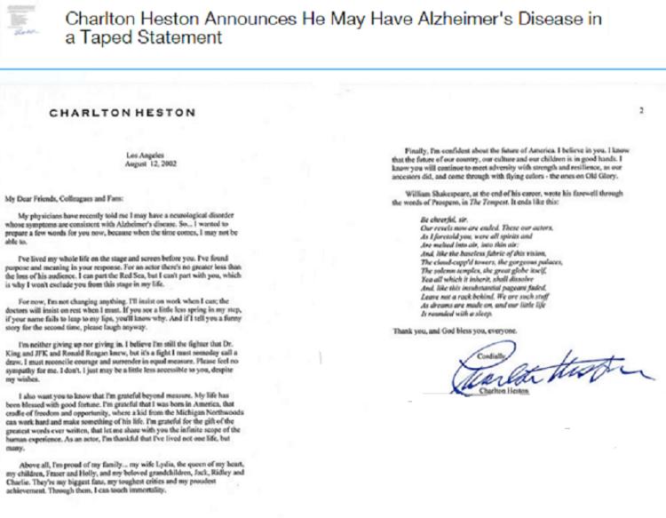 Charlton Heston annonce qu'il peut avoir la maladie d'Alzheimer dans une déclaration enregistrée