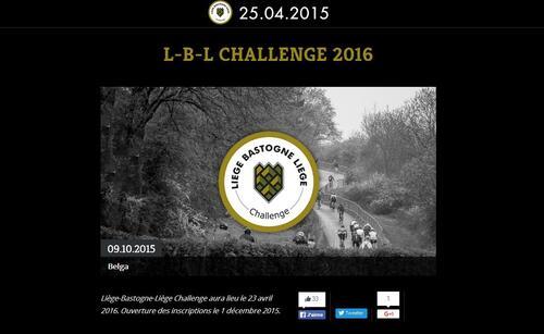 Liège-Bastogne-Liège Challenge aura lieu le 23 avril
