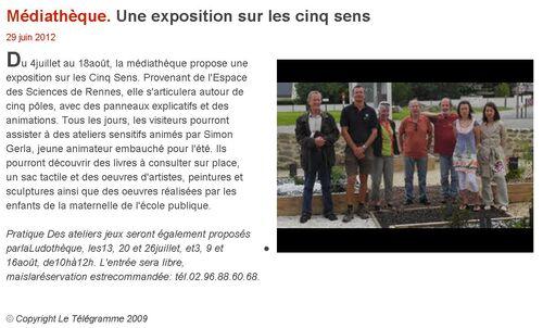Le Télégramme - 29/06/2012 - Médiathèque. Une exposition sur les cinq sens