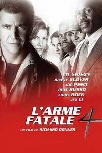 L'arme fatale 4 (1998) : On adjoint un nouveau détective au quatuor Riggs, Murtaugh, Cole et Getz pour les besoins d'une enquête sur une série de crimes dans lesquels des faux-monnayeurs sont impliqués. Leurs investigations les conduisent à Wah Sing Ku, un membre de la mafia asiatique... ..... ----- ..... Réalisateur(s) : Richard Donner Acteurs(s) : Mel Gibson, Danny Glover, Joe Pesci, Rene Russo, Chris Rock, Jet Li Genre(s) : Action, Aventure, Comédie, Crime, Thriller Année de sortie(s) : 1998 Pays : United States of America Distributeur : Silver Pictures, Donner/Shuler-Donner Productions, Warner Bros. Pictures