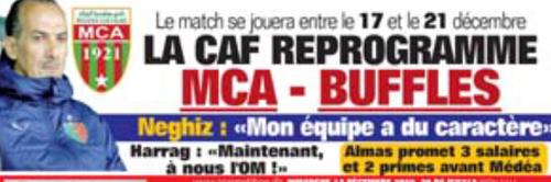 LA CAF reprogramme le match MCA-Ls Buffles