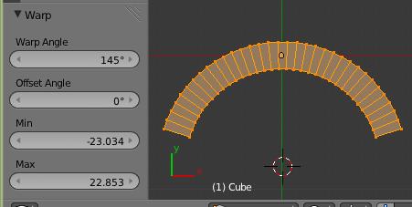 Pour courbe un objet : Mesh > Transform > Warp