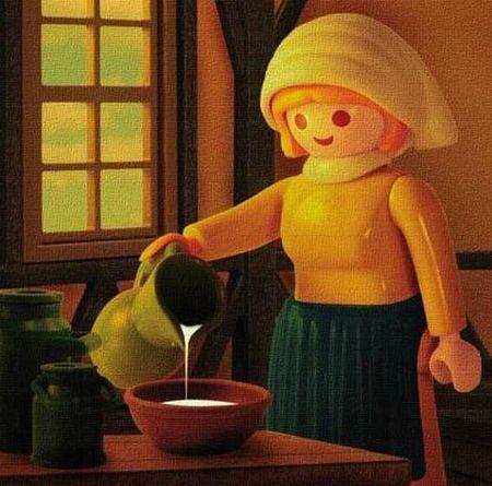 PlayMobil Milkmaid inspired by Vermeer - On a fait une vidéo pour présenter vos projets, un draw my life en 3D :) http://studiocigale.fr/films/?catid=1&slg=29: