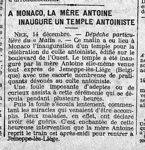 Monaco, inauguration (Le Matin, 15 déc 1913)