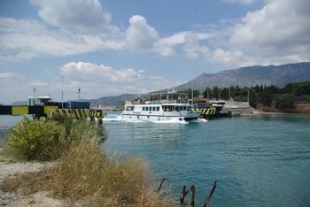 entrée du canal de Corinthe, côté golfe de Corinthe (mer Ionienne)
