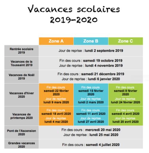 Calendrier Vacances 2019-2020