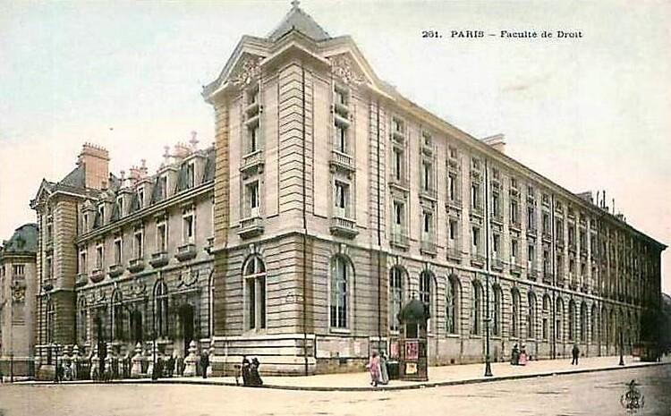 La Faculté de Droit à l'angle de la rue Soufflot et de la rue Saint-Jacques.