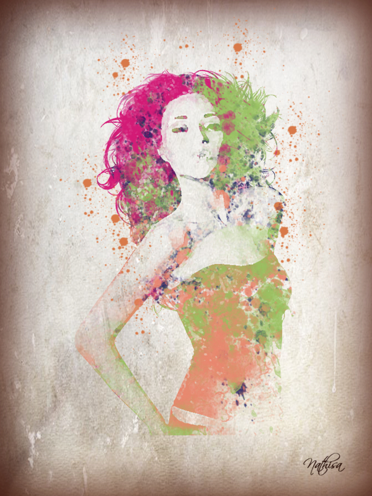 Femme fausse aquarelle