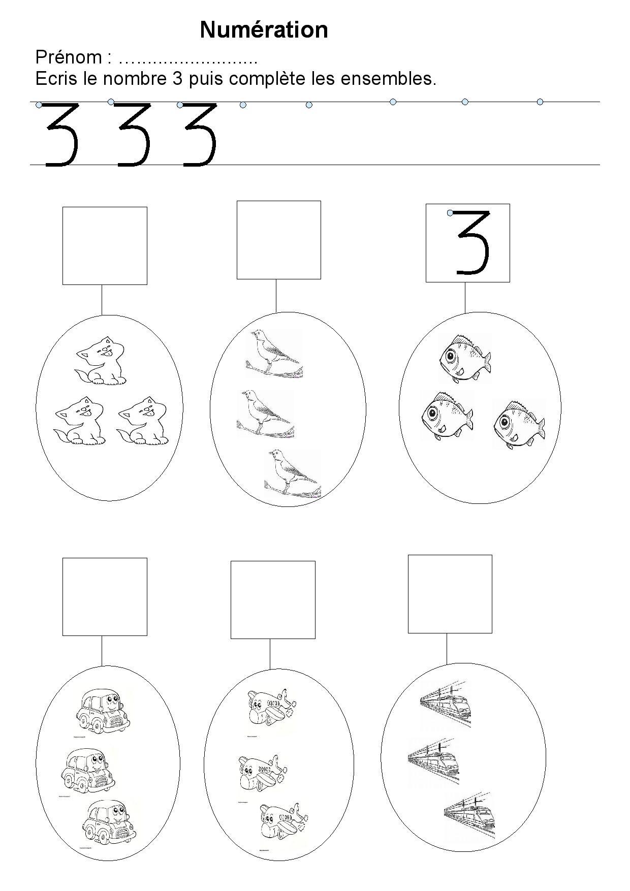 Top Maternelle,exercices sur les nombres,écriture des nombres de 1 à 5  FV51