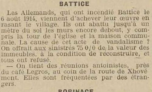Antoinistes à Battice