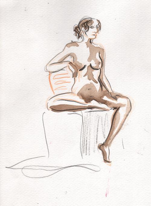 femme assise séance modèle vivant...