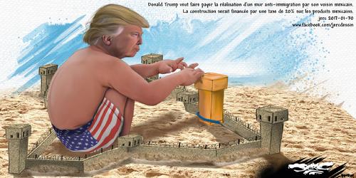 dessin de JERC lundi 30 janvier 2017 caricature Donald Trump Se murer dans la solitude www.facebook.com/jercdessin