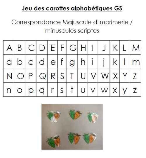 Brevet carottes alphabétiques