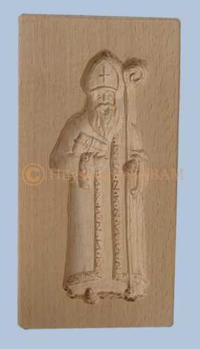 Moule à spéculoos artisanal en bois Saint Nicolas - Arts et sculpture: sculpteur sur bois