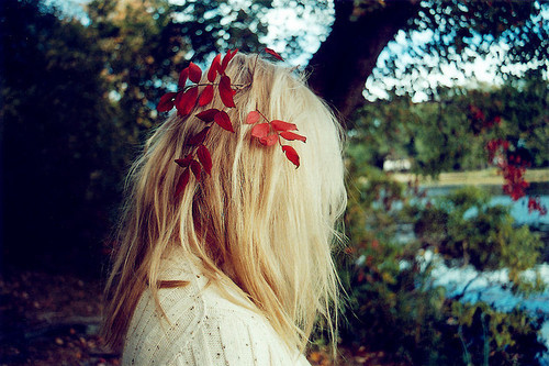 forest, girl, hair, leaves
