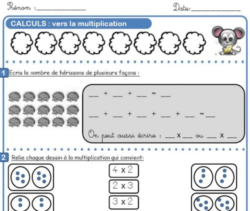 Vers la multiplication l 39 cole de crevette - Table de multiplication exercice ce1 ...