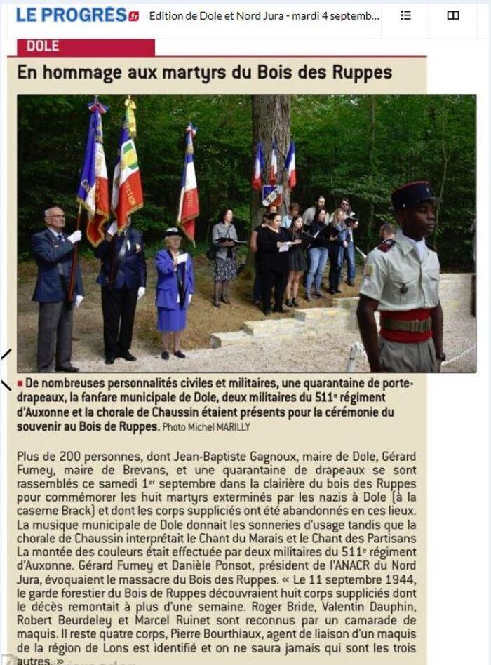 Cérémonie Commémorative du Bois de Ruppes. 1er septembre 2018.