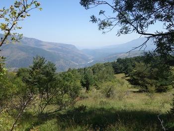 Vers l'Est, la vallée de la Tet. On devine le chantier de Joncet