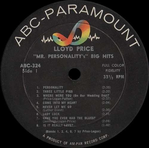 "Lloyd Price : Album "" ''Mr Personality's'' 15 Hits "" ABC-Paramount Records ABC-324 [ US ]"
