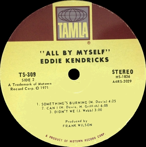 "Eddie Kendricks : Album "" All By Myself "" Tamla Records TS-309 [ US ]"