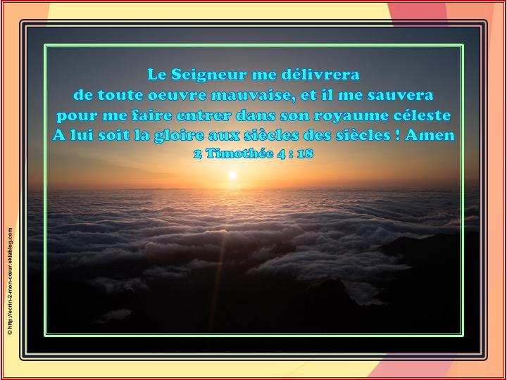 Le Seigneur me délivrera - 2 Timothée 4 : 18