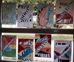 Les lettres animaux (zèbre et girafe) à la manière de Vazarely