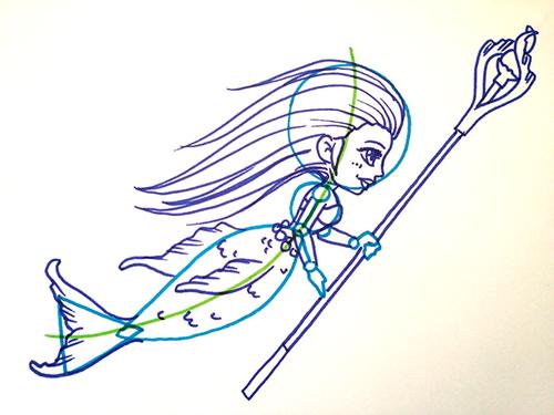Comment dessiner une sirène toute mignonne de face?