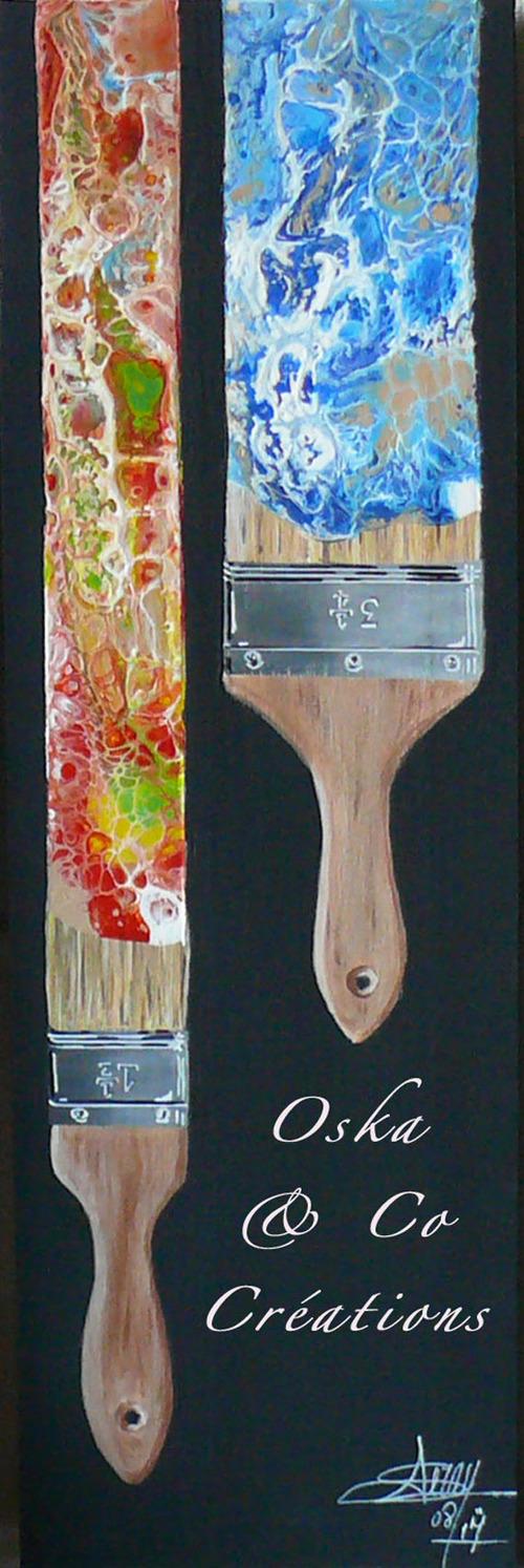 Rêve de peintre triptyque à l'acrylique sur bois