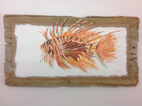 poisson scorpion bois flotté tethys art