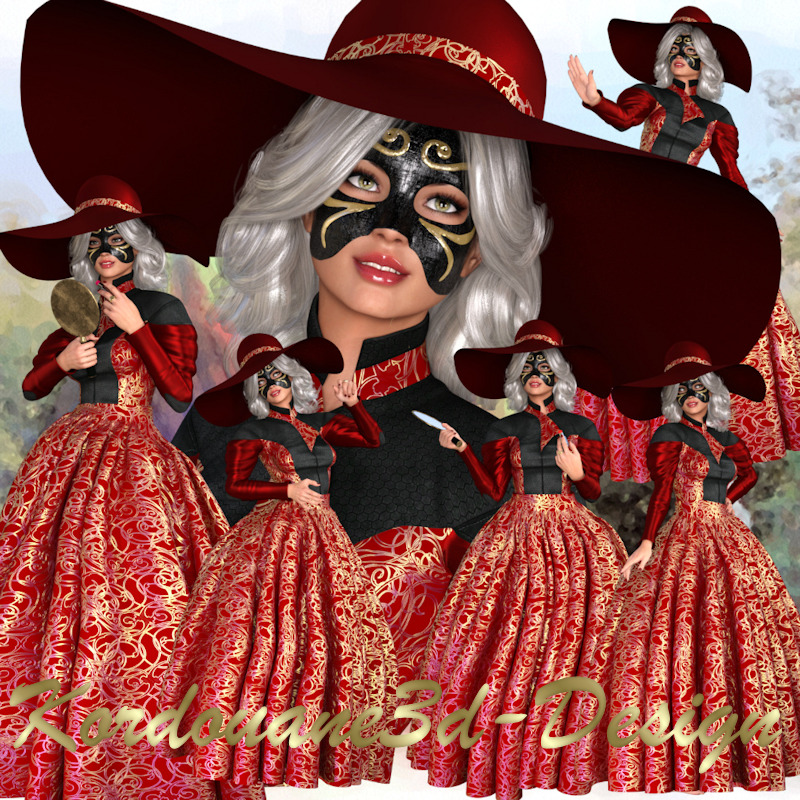 Femme au chapeau et masque (image)