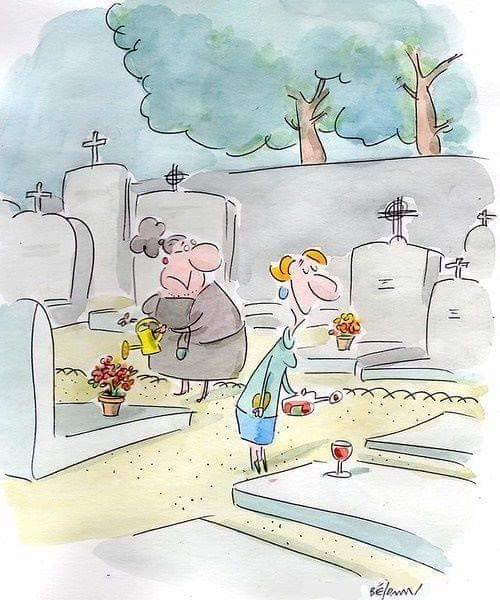 La fête des morts avec des fleurs ou un verre de vin !?
