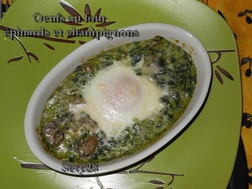 Oeufs, épinards, champignons