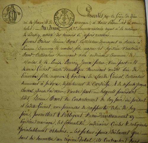 Contrat de mariage entre Etienne Paret et Jeanne Guinot