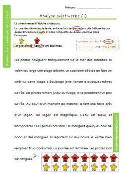 le sujet et le verbe - fiches d'analyse grammaticale