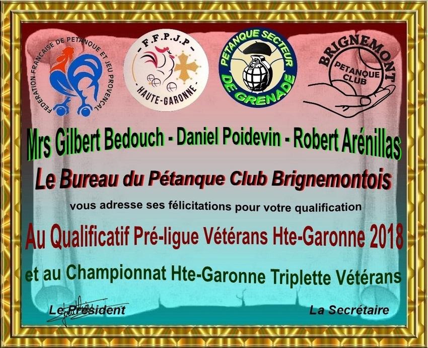 Qualificatif Triplettes Vétérans au Castéra
