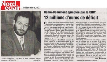 012 11 décembre 12 millions d'euros de déficit