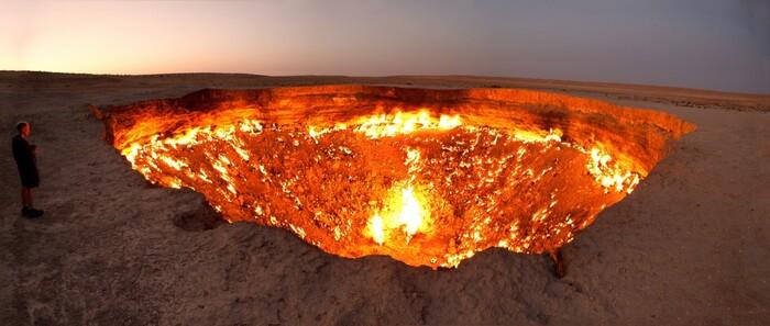 Le trou de l'enfer au Turkménistan