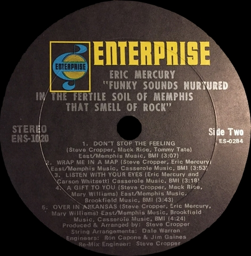 "Eric Mercury : Album "" Funky Sound Nurtured In The Fertile Soil Of Memphis "" Enterprise Records ENS-1020 [ US ]"
