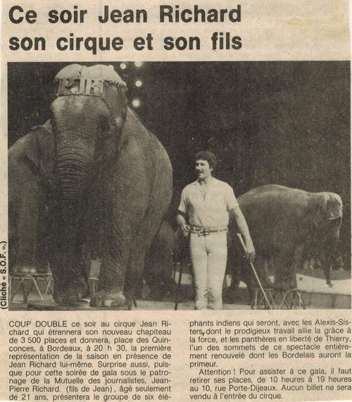 articles de presse pour la venue du cirque Jean Richard en 1980 à Bordeaux