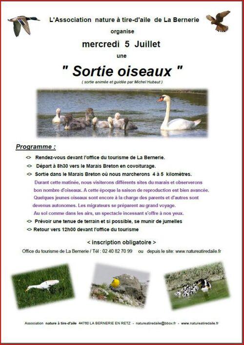 Sortie ornithologique du 5 juillet avec Michel HUBAUT
