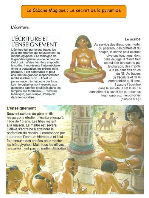 """Etude des derniers chapitres de La Cabane Magique: """"Le secret de la pyramide"""""""