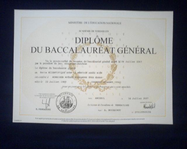 Diplome du Baccalauréat