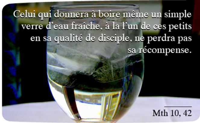 Celui qui donnera à boire même un simple verre d'eau fraîche, à l'un de ces petits en sa qualité de disciple, ne perdra pas sa récompense.          Mth 10, 42