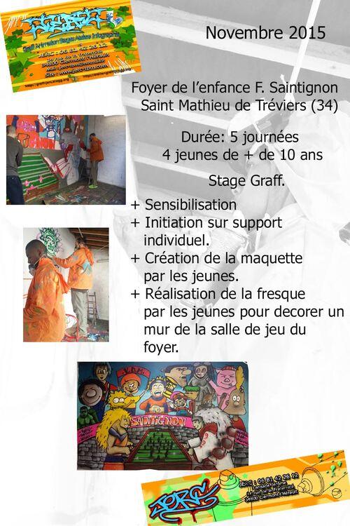 Stage pedagogique : initiation au graff, fresque réalisé par 4 jeunes du foyer Saintignon de St Mathieu de Tréviers (34) 5 demi-journées novembre 2015 les photos : http://atelier-graff.bloog.org