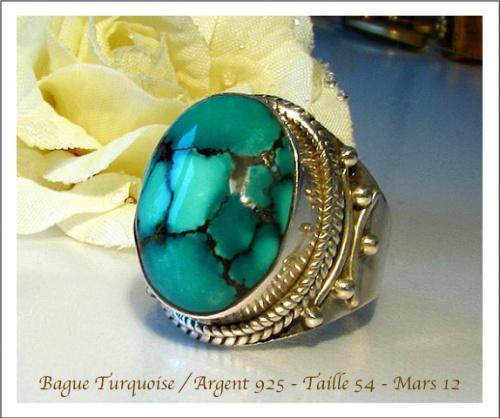 Bague Turquoise / Argent 925 - Taille 54 - 18 cm de diamètre