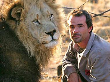 L'homme qui fait des calins aux lions